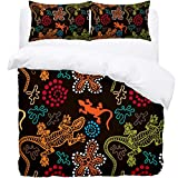 TIZORAX Double Bedding Duvet Cover Set - Colorful Lizards And Stone 3 Piece Microfiber Comforter Set Quilt Cover and 2 Pillow Shams for Men Women