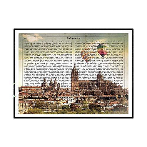 Nacnic Lámina Ciudad de Salamanca con su Historia. Poster tamaño A4 Impreso en Papel