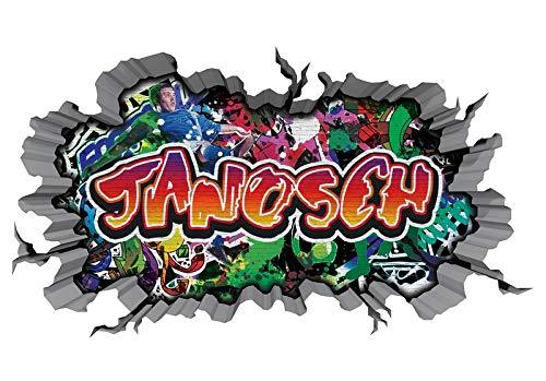 3D Wandtattoo Graffiti Wand Aufkleber Name JANOSCH Wanddurchbruch sticker Boy selbstklebend Wandsticker Jungenddeko Kinderzimmer 11MD281, Wandbild Größe F:ca. 162cmx97cm