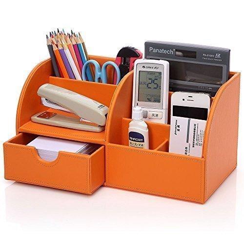 Kentop Organizador de escritorio multifuncional de piel sintética para escritorio, caja organizadora para oficina, suministros de oficina, compartimento de almacenamiento (naranja)
