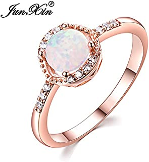 Panwa Jewelry Shop Classic Round Cut White Fire Opal CZ 10KT Rose Gold Wedding Ring Women Size 5-11 (11)