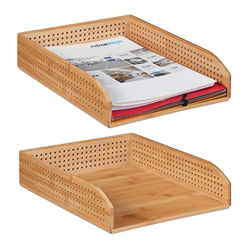 Relaxdays 2 x Dokumentenablage Bambus, perforiert, stapelbar, A4, Schreibtischablage, Büro, Ablage HBT: ca 7 x 25 x 33, natürlich