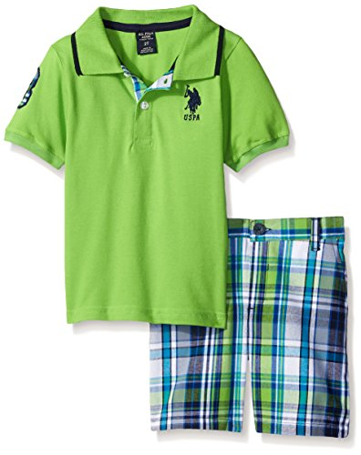 U.S. Polo Assn. Boys' Little 2 Piece Big Pony Solid Pique Polo Shirt and Plaid Short, Lime, 7
