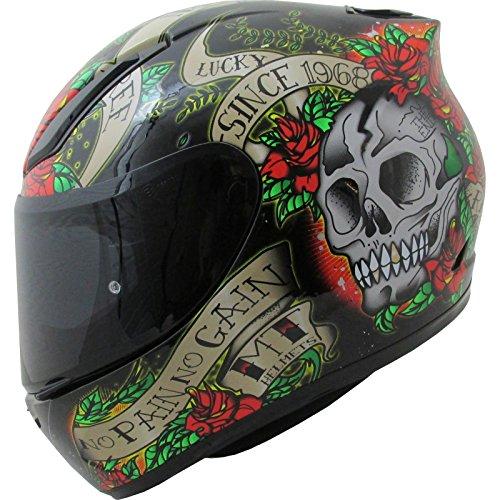 MT Revenge Skull & Roses - Casco de moto, negro y rojo, extra-large