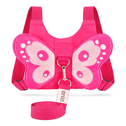 EPLAZA Toddler Walking Safety Harnesses with Leashes Cute Butterfly Anti Lost Wrist Leash for 1.5-3 Years Kid Girls Boys (Pink)