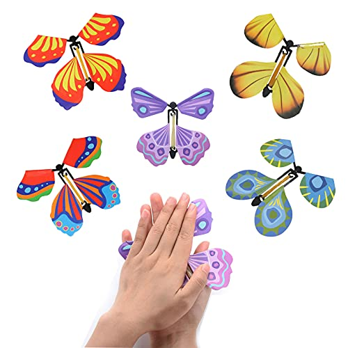 HIWIND 20 Packs Flying Butterfly Toy Magic Fairy Wind up Toys Flyers Butterfly Surprise Gift Party Playing