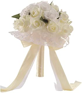 Anferstore Wedding Bouquets, Pearl Silk Roses Bridal Bridesmaid Wedding Hand Bouquet Artificial Fake Flowers for Wedding, Party and Church (White)