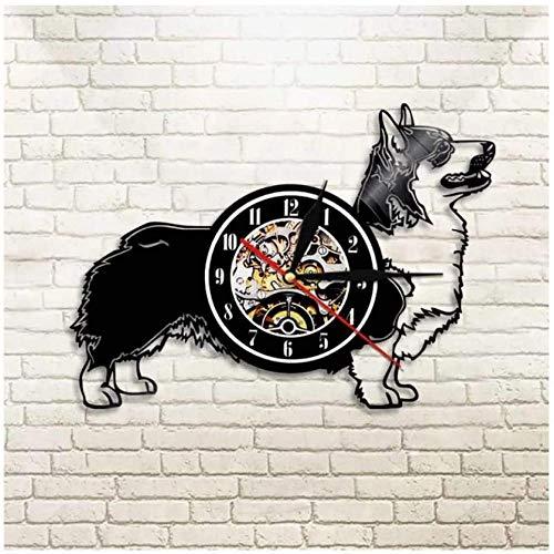 Reloj de pared de vinilo con diseño de Corgi galés para amantes de los hombres, mujeres, adolescentes y niños, regalos únicos, decoración de pared, obras de arte negro de 30 cm