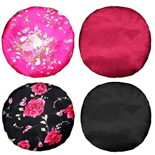 4 Pieces Large Satin Sleeping Cap Satin Bonnet Elastic Silky Night Hat for Women Girl Curly Long Hair (Floral Pattern)