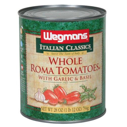 Wgmns Italian Classics Whole Roma Tomatoes, with Garlic & Basil , 28. Oz (Oak of 4)