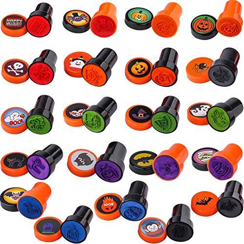 Ucradle 30 timbri autoinchiostranti per Bambini Halloween, in plastica, per Halloween, Giocattoli spettrali, Zucca e premi,Halloween per Feste