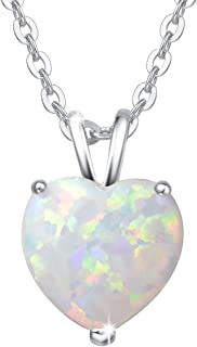 FANCIME Sterling Silver Created Fire Opal Necklace Teardrop/Heart/Infinity/Geometric CZ Cubic Zirconia Halo/Prong October Birthstone Fine Jewelry for Women 16+2 inch Extender