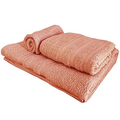 Set di asciugamani a 3 pezzi, 1 kit asciugamano da bagno (100x150), 1 set asciugamani per le mani (55x105), 1 set asciugamano bidet (40x60), 100% Cotone, asciugamani per Spa e Massaggi (Pesca)