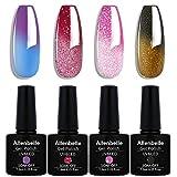 Allenbelle Smalto Semipermanente Camaleonte Nail Polish UV LED Gel Unghie (Kit di 4 pcs 7.3ML/pc) 012