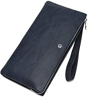ACSH Men's Classic Wallet, Real Leather Zip Around Wallet ,Clutch, Large Travel Purse Wristle