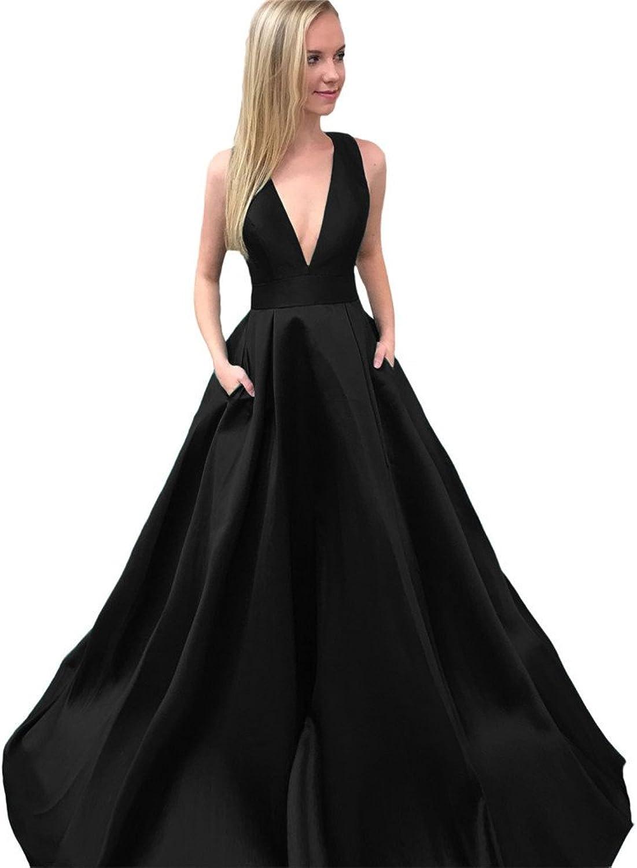 CCBubble Satin Prom Dresses 2018 V Neck Prom Evening Party Dress Long