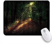 EILANNAマウスパッド 森のサンシャインツリーの秋の紅葉と森の自然風景の経路 ゲーミング オフィス最適 高級感 おしゃれ 防水 耐久性が良い 滑り止めゴム底 ゲーミングなど適用 用ノートブックコンピュータマウスマット
