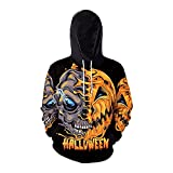 Men's Casual Drawstring Pullover Halloween Hoodies Pumpkin 3D Print Long Sleeve Casual Hooded Top Shirts Loose Blouse (Black, S)