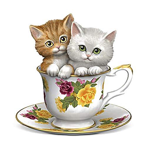 GSYZDCSTZ 3 stks 19.8 * 20.6CM Twee Leuke Thee Cup Katten Kinder Kamer Decor Muursticker Badkamer Toilet Sticker