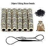 Queta Kit de Perles Runiques Perles de Rune Viking pour Barbe Cheuveux et Bandes de Caoutchouc Noir...