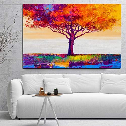 YRWL Lienzo Impreso Pintura de Arte de Pared Carteles e Impresiones de árboles Abstractos Coloridos para Sala de Estar Imagen Moderna de decoración del hogar-70x105cm sin Marco