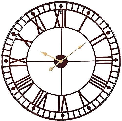 Römische Zahl Wanduhr großes rundes Metallskelett Innen- / im Freien Garten dekorative Uhr 31.5inch,Black