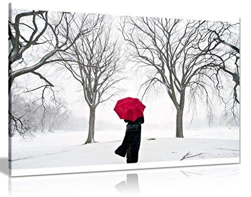 Kunstdruck auf Leinwand, Regenschirm im Schnee, 30 x 20 cm