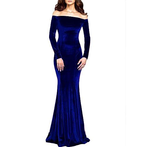 Off The Shoulder Long Prom Dresses Blue: Amazon.com