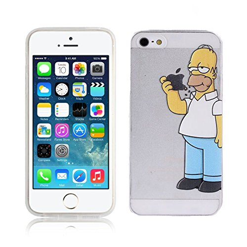 Cover Simpson Homer Mangia Mela Per iPhone 5 5S SE Case TPU Gomma Morbida Trasparente Silicone Ultra Sottile Slim 0,33 MM Disegno Personalizzato Cartoni Animati kaser (iPhone 5 / 5S / SE)