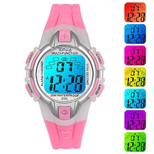 Reloj Niño Niña Digital,7 Colores LED 50M Impermeables Relojes de Pulsera Infantil,Relojes Deportivos de Pulsera Multifuncionales para Exteriores con Cronómetro/Alarma para Niños 5-15 años (Rosa)