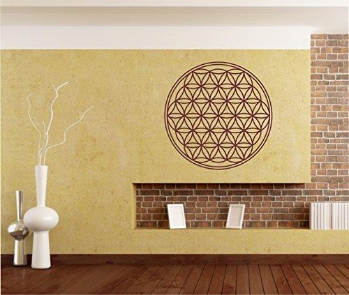 Sticker mural autocollant Motif fleur de vie vie fleur Sticker mural 100 cm en 33 couleurs mat ou brillant - Gris mat