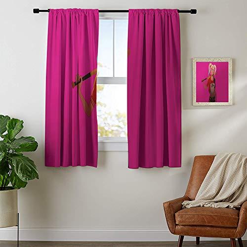 Cortinas de oscurecimiento de la habitación The Joker Harley Quinn cortina de ventana de tela bloquea la luz y el ruido de 42 x 54 cm, lavable a máquina.