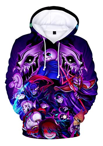 RAILONCH Unisex Undertale Sans 3D Printed Hoodies Pullover Sweatshirts (H,L)