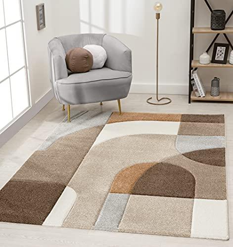 the carpet Tapis de salon moderne à poils courts et doux - Effet profond - Contours découpés - Motif arcs - Beige/marron - 120 x 170 cm