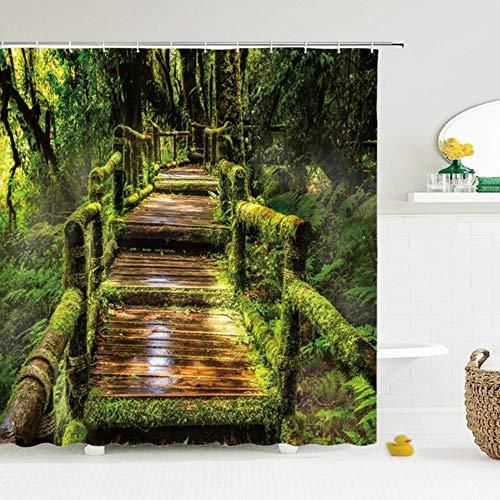 Cortina de Ducha de Bosque con impresión 3D Moderna, Cortina de baño con Paisaje de árbol de Planta Verde con Ganchos para baño, Paisaje Impermeable