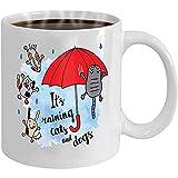 Regalos Presentes Café/Té Taza blanca (dos lados) s lloviendo gatos perros tarjeta de otoño gotas de lluvia que caen paraguas postal brillante Geométrica
