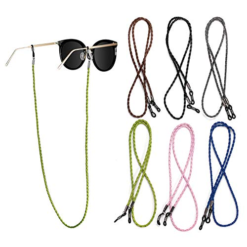 Oumezon Brillenketting, 6 stuks, veelkleurig, gevlochten bril, touw, meerkleurig, gevlochten touw, brilhouder, ketting, bril, koord, zonnebril, ketting, hals, lanyard