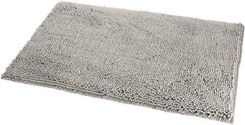 Amazon Basics Non-Slip Microfiber Shag Bathroom Rug Mat, 21 x 34, Platinum