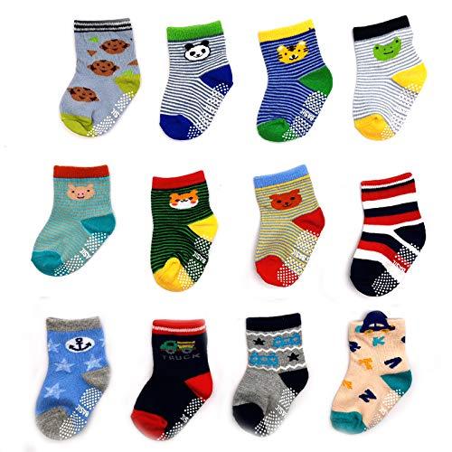 Huapan 12 pares de calcetines termicos largos antideslizantes divertidos bonitos largos dibujos animados para 0-5 años niños y niñas (s (0-2años))