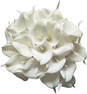 AntranStore 20pcs Calla Lily Bridal Wedding Bouquet Head Latex Real Touch Artificial Flower Home Party Decor (Pure White)
