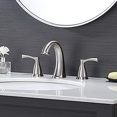 VESLA HOME Modern Commercial Two-Handle 3 hole 8 inch Widespread Brushed Nickel Bathroom Faucet,Bathroom Sink Faucet With Metal Supply Lines Without Pop Up Drain