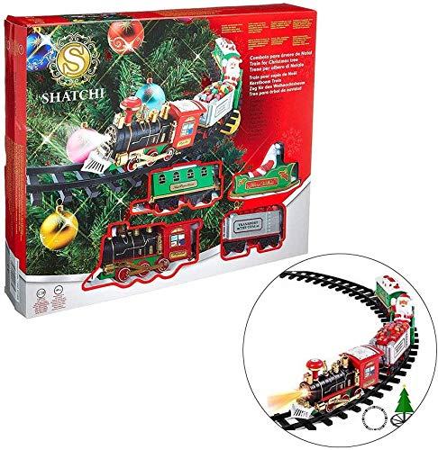 1 paquete de tren de árbol de Navidad alrededor del árbol con sonido iluminado, el mejor regalo para decoración navideña debajo del árbol de Navidad
