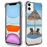 guchaolu Compatible con iPhone 11 modelo de funda de teléfono con mar, tumbonas de madera frente al océano oriental bajo un paraguas de paja en Zanzíbar,