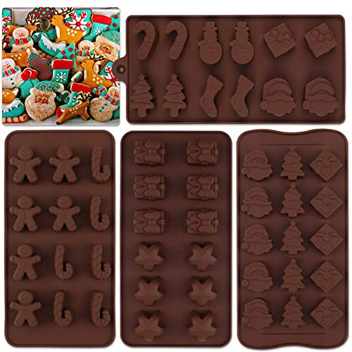 HOWAF Christmas Silicone Moulds Chocolate Moulds,Xmas Tree Santa Claus Snowman Gingerbread Man Cookies Mould Cake Decorating Bar Ice Cube Candy Baking Tray Mold Food Grade Non-Stick Moulds Pack of 4