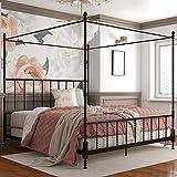 DHP Jenny Lind Metal Bed, 4 Post King Size Frame, Black Canopy