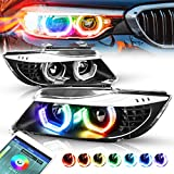 RGB Color Change 3D LED Halo Black Housing Projector Headlight Replacement for BMW E90 3-Series 4-Door 09-12