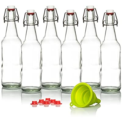 Swing Top Glass Bottles Brewing Bottles for Kombucha, Beer, Kiefer - 16 oz. - Grolsch Style Bottle (6 Set) with Funnel