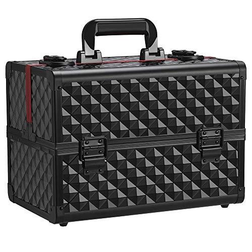 Yaheetech Schminkkoffer schwarz Alu Kosmetikkoffer Werkzeugkoffer Nagel Koffer Beauty Case 34,7 x 22,2 x 25 cm