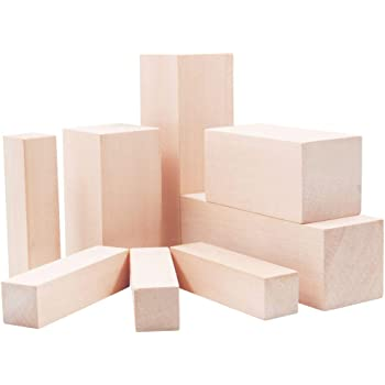 Lulu Home Basswood for Carving, Basswood Carving Whittling Blocks Kit for Beginners, 8 Pieces Smooth Basswood Carving Blocks for Kids and Adults