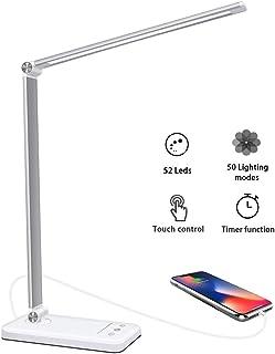 Lámpara Escritorio LED,5 * 10 Modos de Brillo con 52 SMD Leds Lámparas Mesa USB Recargable,2000mAh Plegable Flexo de Escritorio Control Táctil,Protege a ojos (Blanco)